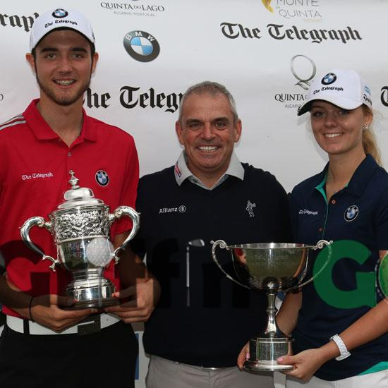 Hertfordshire's Harry Goddard and Hannah Screen the 2016 Daily Telegraph Junior Champions with Ryder Cup captain Paul McGinley